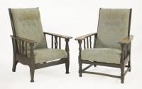 Lot 88 - An Arts & Crafts oak reclining armchair