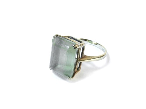 Lot 18-A 9ct gold emerald cut citrine ring