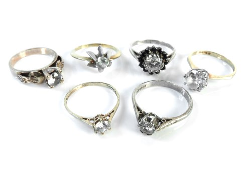 Lot 20-Two 9ct gold single stone cubic zirconia rings