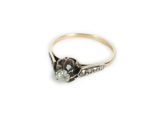 Lot 6-A gold single stone diamond ring