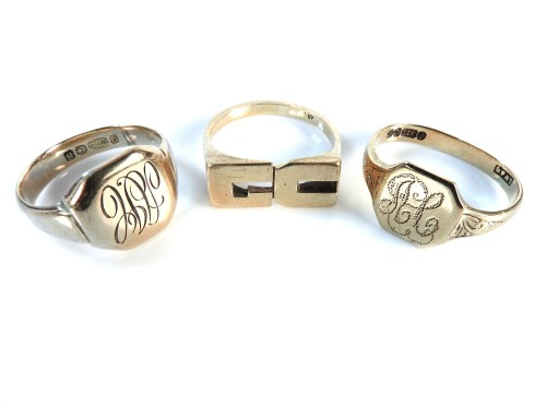Lot 22-Two 9ct gold signet rings