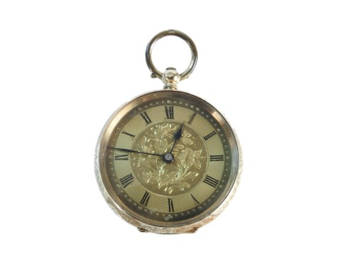 Lot 36-A Continental gold open faced fob watch