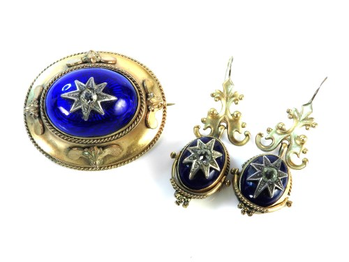 Lot 43-A Victorian gilt metal raised blue guilloche enamel brooch and earring suite