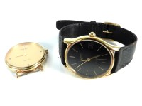 Lot 46-A gold plated gentleman's Longines quartz strap watch
