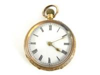 Lot 31 - A Swiss gold open faced fob watch