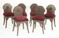 Lot 10 - A set of six oak hall chairs