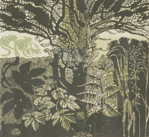 Lot 14-*Richard Bawden (b.1936) 'IN THE GARDEN' Linocut