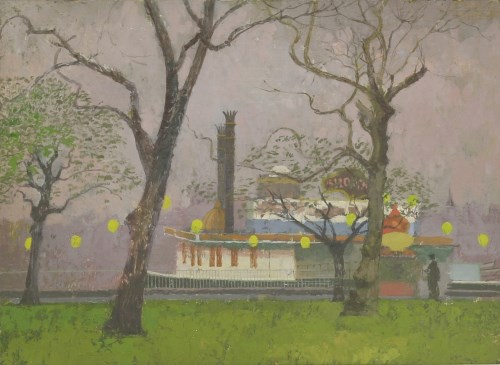 Lot 203-*Lionel Bulmer (1919-1992) 'PLEASURE STEAMER ON THE BANKS OF THE THAMES' Oil on board 26 x 35cm  *Artist's Resale Right may apply to this lot.