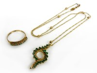 Lot 64A - A gold 's' link and bead necklace marked 375 with an emerald pendant