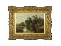 395 - J Caffyn LATE 19TH CENTURY ENGLISH SCHOOL A RIVER BANK SCENE Oil on canvas