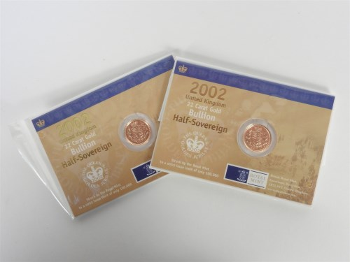 Lot 49-Two 2002 half sovereigns