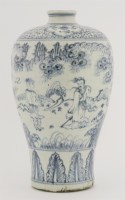 18 - A blue and white meiping vase