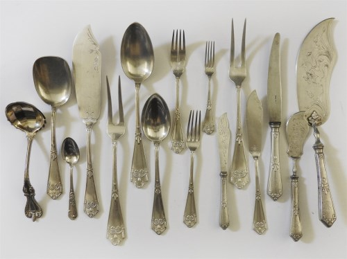 114 - An extensive canteen of late 19th Century Austrian silver cutlery