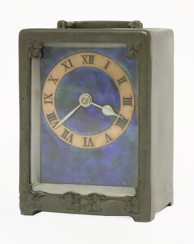 151 - A Tudric pewter and enamel desk clock