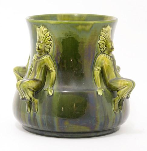17 - An Ault green and yellow mottled glaze jardinière