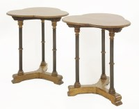 2 - A pair of oak and ebonised side tables