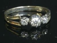 Lot 12 - A Georgian three stone diamond ring