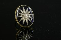 Lot 45 - A Victorian diamond set India star and blue glass plaque