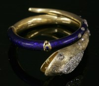 Lot 46 - A Victorian diamond and enamel articulated snake bangle