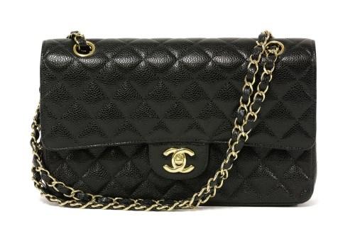 Lot 1031-A Chanel black caviar leather 2.55 double flap medium handbag