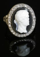 Lot 3 - An hardstone cameo and diamond ring