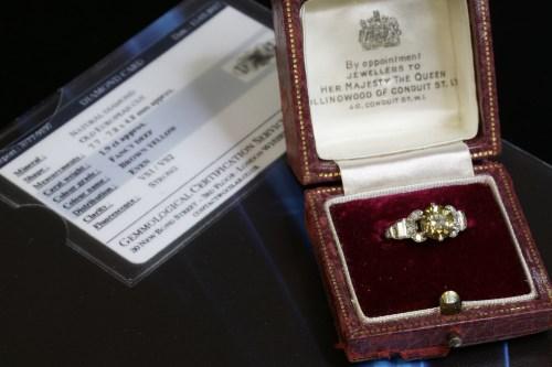 Lot 150-An Art Deco single stone fancy diamond ring