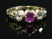 Lot 59 - A Victorian three stone pink sapphire and diamond ring