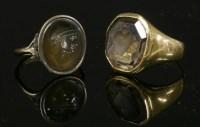 Lot 5 - A gentlemen's smokey quartz intaglio ring