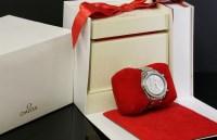 307 - A ladies' stainless steel diamond set Omega automatic bracelet watch