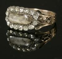 Lot 11 - A Georgian diamond set memorial ring