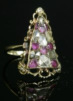 Lot 17 - A ruby and diamond cluster ring
