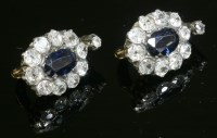 Lot 55 - A pair of late Victorian sapphire and diamond cluster clip-on earrings