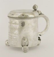 464 - A Scandinavian silver tankard and cover  maker's mark 'K'