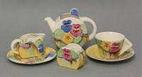 124 - A Clarice Cliff Delecia 'Pansies' tea for one