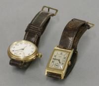 Lot 5 - An Art Deco gold gentleman's Walker Unbreakable mechanical strap watch