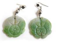 Lot 41 - A pair of jade carved earrings