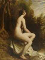 247 - William Etty RA (1787-1849) A SEATED NUDE IN A WOODED LANDSCAPE Oil on panel 67 x 50cm
