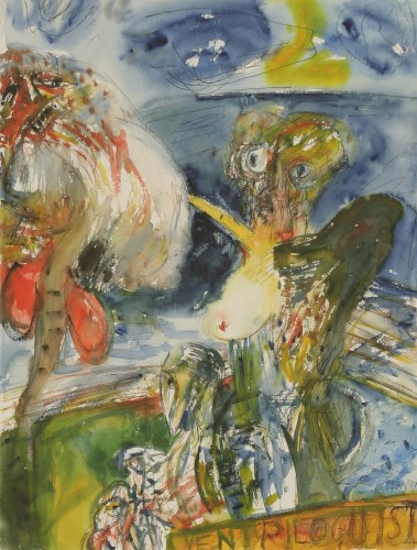 Lot 48 - *John Bellany RA (1942-2013) THE VENTRILOQUIST Signed l.r.
