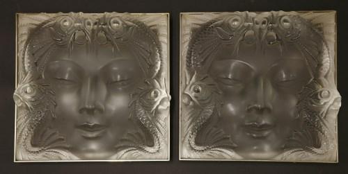 167 - A pair of Lalique glass plaques 'Masque de Femme'