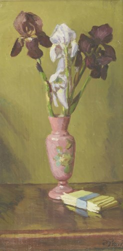 Lot 256 - *Duncan Grant (1885-1978) A STILL LIFE OF IRISES IN A VASE AND A BOOK ON A TABLE Signed l.r.