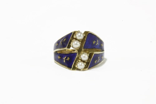 Lot 7-A Continental 14ct gold blue enamel ring and cultured pearl ring