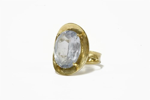 Lot 4-A Continental gold single stone oval cut synthetic spinel ring