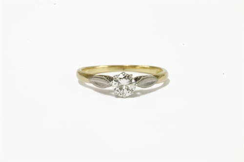 Lot 12-A gold single stone diamond ring