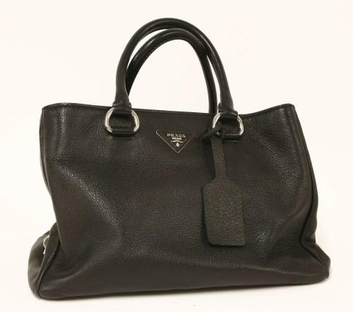 1049 - A Prada 'Cervo' black deerskin leather tote