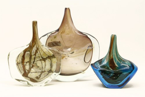 Lot 162 - Two Mdina style fish vases of compressed shouldered ovoid form and drawn slender necks
