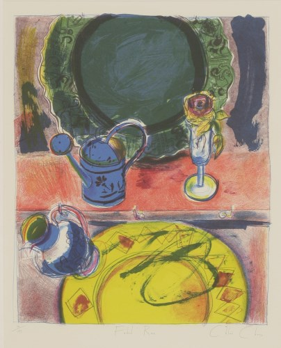 Lot 38 - *Chloe Cheese (b.1952) 'KELIM CARPET WITH WAVY LEAVES'; 'FADED ROSE' Two lithographs
