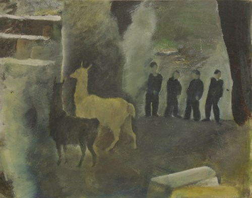 Lot 196 - *Tessa Newcomb (b.1955) TWO ALPACAS IN A YARD WITH FOUR FIGURES STANDING BEHIND Signed and dated '79 l.r.