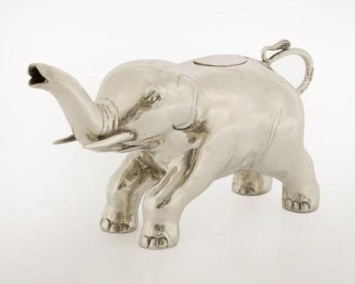 Lot 519-A novelty Continental silver elephant cream jug