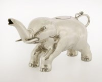 519 - A novelty Continental silver elephant cream jug