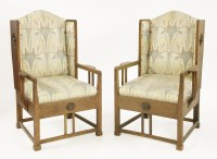 Lot 5-A pair of oak armchairs